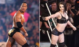In the ring … The Rock and Divas champion wrestler Paige.