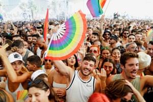 Tel Aviv, Israel. Revellers dance at the annual event