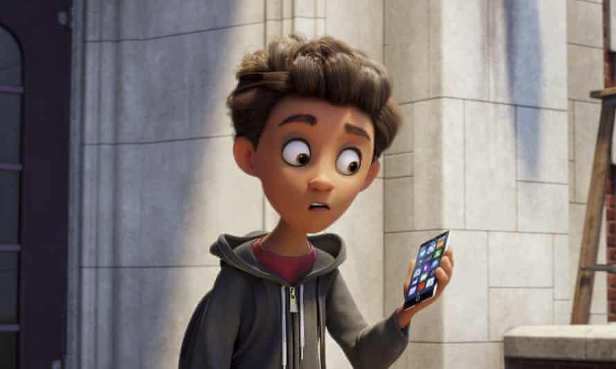 Alex, voiced by Jake T Austin, in The Emoji Movie.