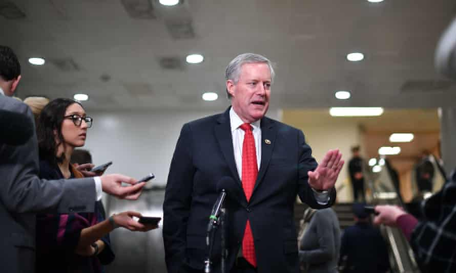 Mark Meadows speaks to the press during a recess during the impeachment trial in Washington in January.