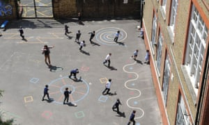 School children playing in a school playground in an inner city London primary school.