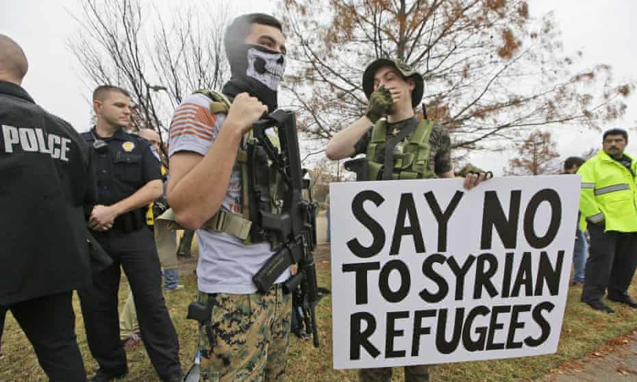 Armed anti-Muslim protesters in Texas. 'As many as 66% of likely Republican voters favour a ban on Muslims according to one poll.'
