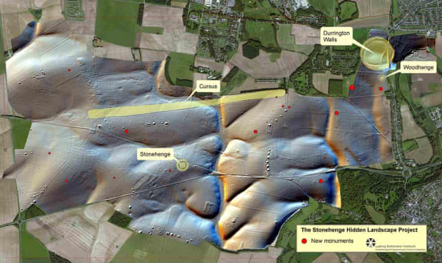 The location of newly discovered monuments around Stonehenge.