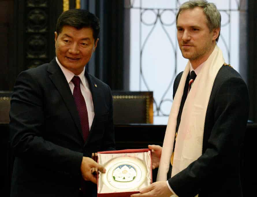 Zdeněk Hřib and Lobsang Sangay at the Old Town Hall in Prague.