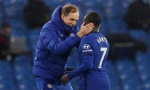 Chelsea manager Thomas Tuchel celebrates their win with N'Golo Kante.