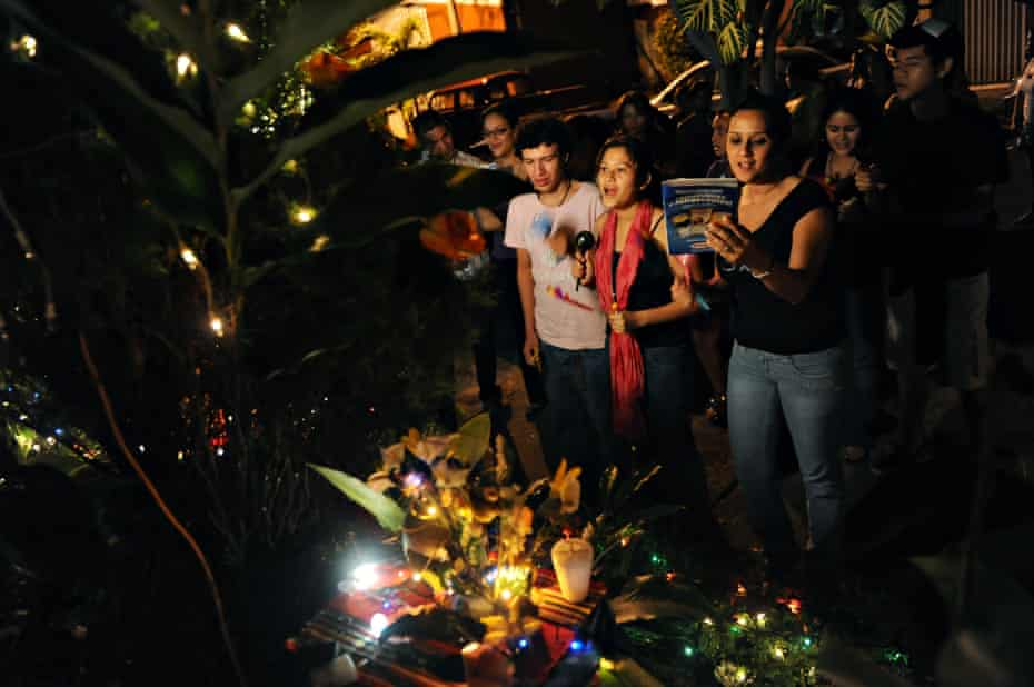 Catholics participate in ''La Griteria'' at the altar of the Virgin ''Maria de la Concepcion'' during the celebration of ''La Purisima,'' an old tradition of the Christmas holidays in Nicaragua.