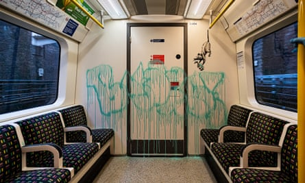 Banksy's artistic additions to the train include rats struggling with hand sanitiser.
