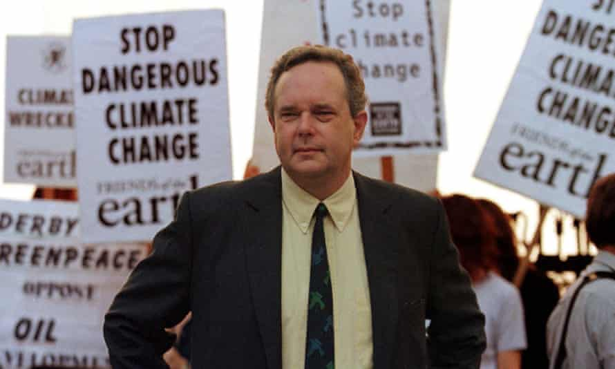 Peter Melchett attends a Greenpeace protest outside the high court in London, 1997, seeking a judicial review of the granting of licences for oil and gas exploration in the north-east Atlantic.