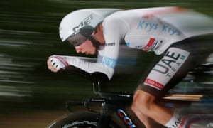 UAE Team Emirates rider Tadej Pogacar, wearing the white jersey for best young rider, in action on Stage 20's individual time trial from Lure to La Planche des Belles Filles.