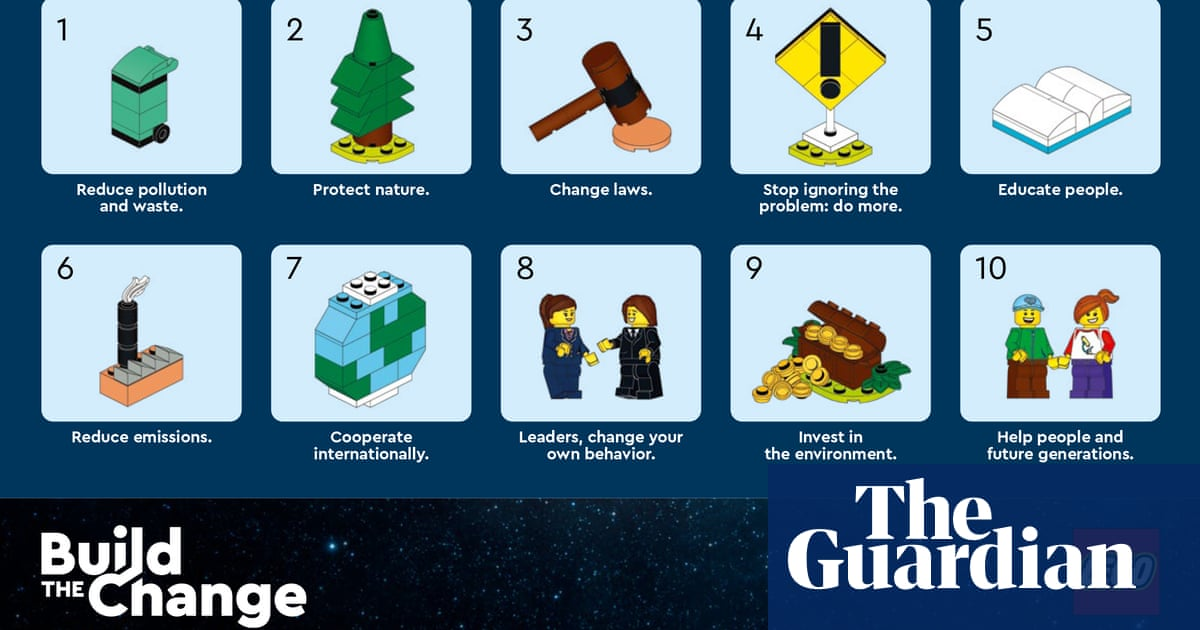 Lego issues Cop26 handbook by children on how to tackle climate crisis