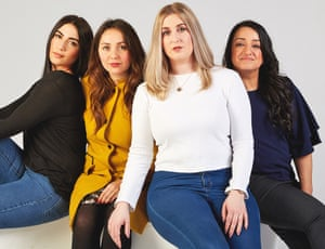 Women who have had major surgery to reduce a genetic risk of cancer. From left to right: Rebecca Nutley, Charlotte Fischer, Lauren Bolus and Parm Nagra