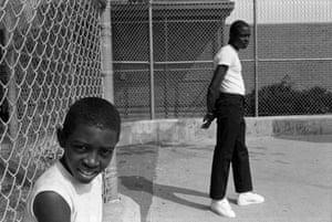 Two Boys at a Handball Court, Syracuse, NY (1985).