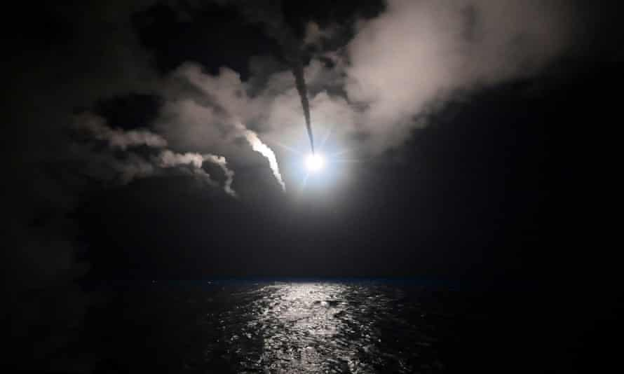 The destroyer USS Porter launches Tomahawk cruise missiles at Shayrat airbase in Syria, 7 April 2017