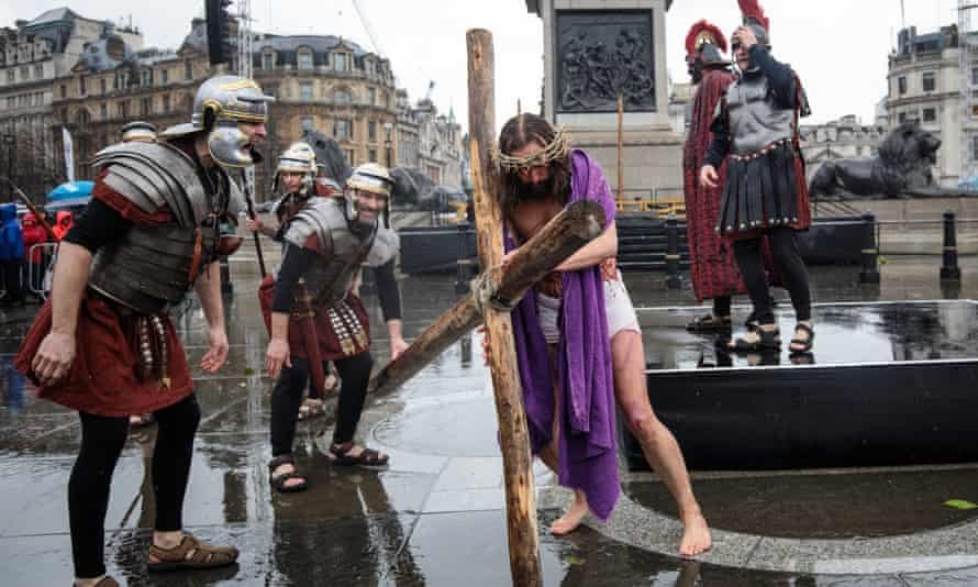 The Passion Of Jesus is performed in London's Trafalgar Square