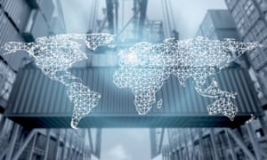 """""""Network connection logistics on a world map, against the backdrop of a port"""""""