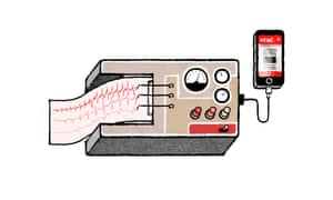 Illustration by David Foldvari of a lie detector attached to an iPhone.