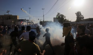 Anti-government protesters storm Baghdad's green zone on Friday.