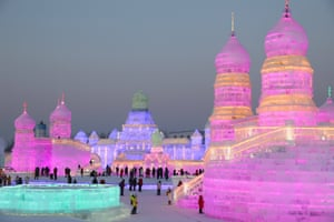 Some 180,000 cubic meters of ice and 150,000 cubic meters of snow were used to build the 800,000-square-meter Harbin ice and snow world where the festival will last for about three months.