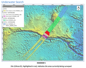 Map of the underwater search area for MH370 conducted by Ocean Infinity and search ship Seabed Constructor, April 15 2018. Update 12. This shows the first time the extension Site 4 was added to the search.