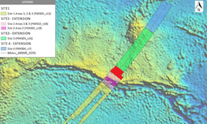 Map of the underwater search area for MH370 conducted by Ocean Infinity and showing site 4 - the new area added to the search