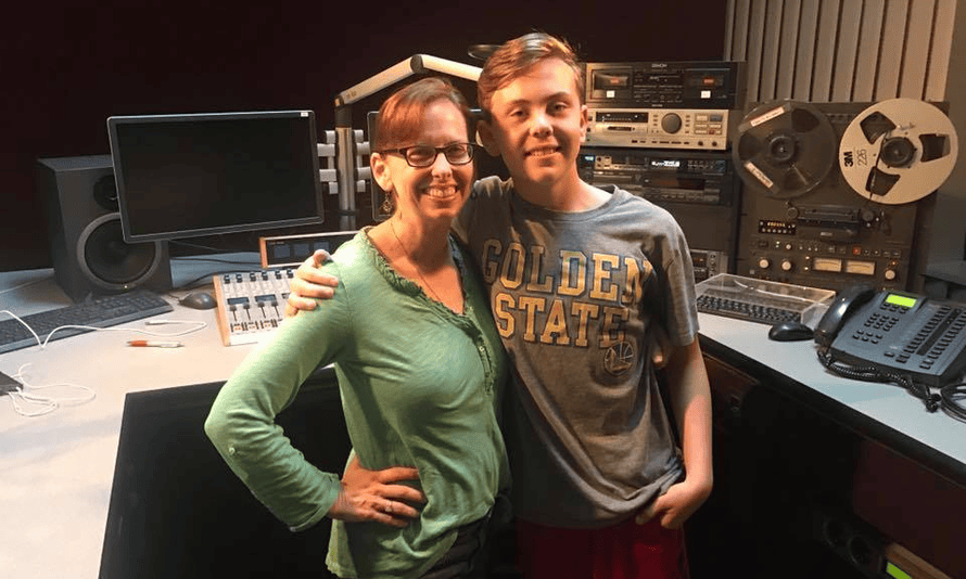 Julie with her son Ryan in the Mother's Quest podcast