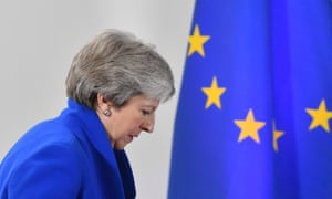 Theresa May with the EU flag