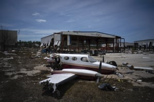 A plane destroyed by Hurricane Dorian sits amid debris at the airport in Freeport, Bahamas Wednesday. Rescuers trying to reach drenched and stunned victims in the Bahamas fanned out across a blasted landscape of smashed and flooded homes, while disaster relief organizations rushed to bring in food and medicine