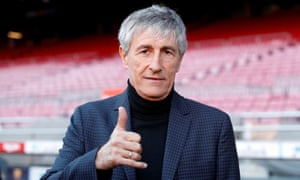 Quique Setien unveiled as FC Barcelona new coach<br>Soccer Football - Quique Setien unveiled as FC Barcelona new coach - Camp Nou, Barcelona, Spain - January 14, 2020   New FC Barcelona coach Quique Setien poses for a photograph after the press conference   REUTERS/Albert Gea