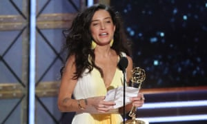 Reed Morano accepts the Emmy award for outstanding directing for The Handmaid's Tale.