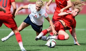 Hegerberg in World Cup action for Norway in 2015. She has now quit the national team