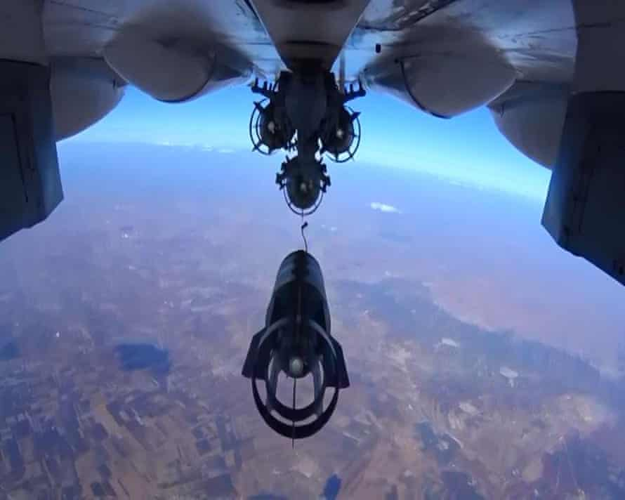 A Russian Sukhoi Su-30 on a bombing raid over Syria.
