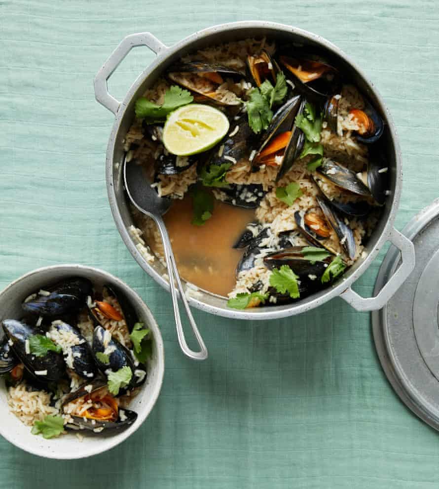 Ravinder Bhogal's mussel, rice and tamarind rasam.