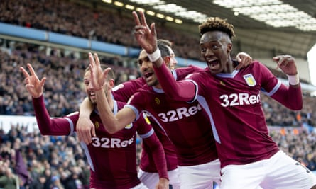 Aston Villa players celebrate after Conor Hourihane (far left) sealed their win.