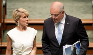 Julie Bishop and Scott Morrison on the day Bishop announced she was resigning from parliament.
