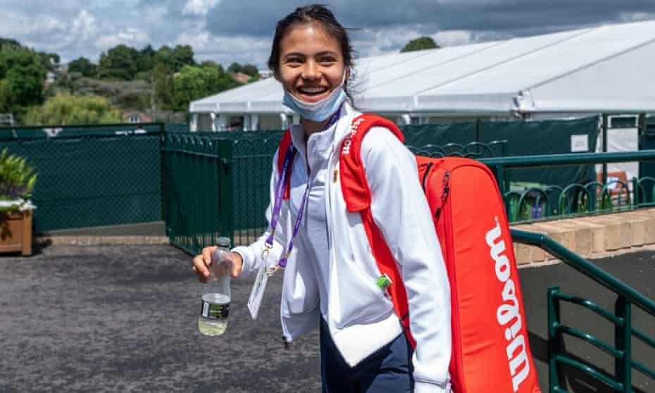 Emma Raducanu on her way to a practice session at Wimbledon
