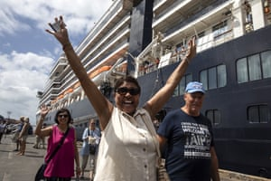 Sihanoukville, Cambodia Excited passengers disembark from the MS Westerdam cruise ship after being stranded for two weeks