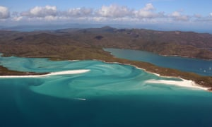 View of the Great Barrier Reef off the coast of the Whitsunday Islands in Queensland.