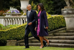 Barack and Michelle Obama leave Winfield House