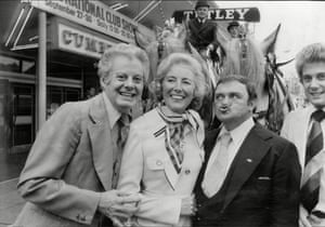 Danny La Rue, Vera Lynn and Les Dawson at the National Club Show at Belle Vue, Manchester on 27 September 1977, where she launched an appeal to raise £1m for breast cancer charity