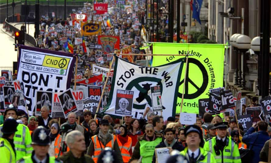 Tens of thousands of marchers protest against the Iraq war, London in 2007. Photograph: Clara Molden/PA.