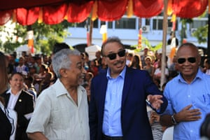 A former prime minister, Mari Alktiri, who is now head of the Oecusse project, with fellow Timor-Leste government ministers in Dili.