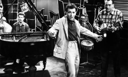 Charles Aznavour in a scene from the movie Paris Music Hall in 1957.