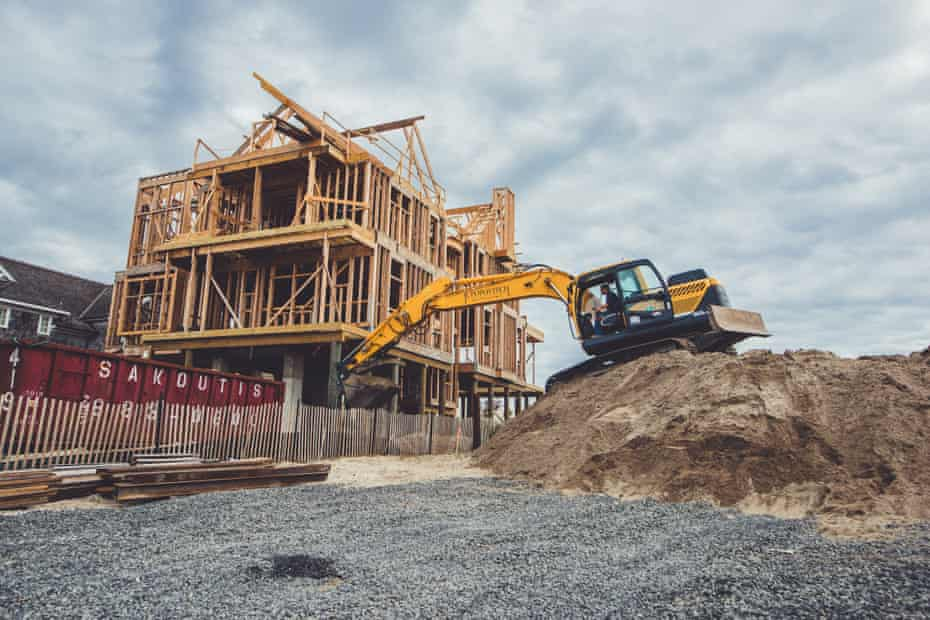 A new home being built in Mantoloking, New Jersey.