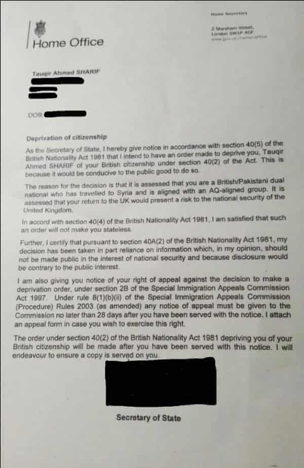 A letter from the Home Office to aid worker Tauqir Sharif, whose citizenship was revoked in May 2017