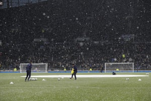 A brief hail storm disrupts training exercises before kick off.