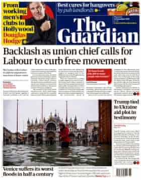 Guardian front page, Thursday 14 November 2019.