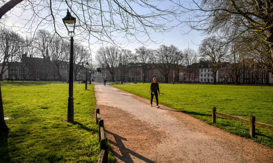 Queen Square in Bristol at 8.20am on Tuesday
