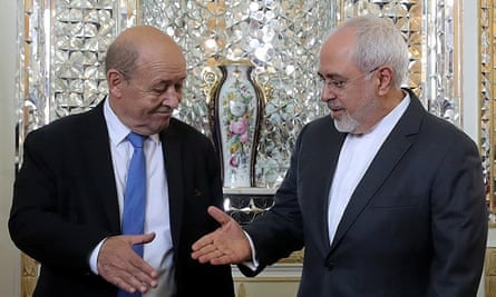 Jean-Yves Le Drian and Mohammad Javad Zarif