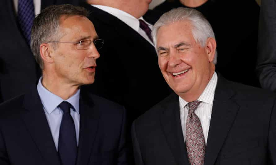 Nato's head, Jens Stoltenberg, left, with Rex Tillerson in Brussels.