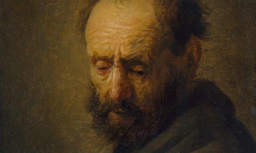Head of a Bearded Man, c. 1630, oil on oak panel, from the workshop of Rembrandt van Rijn (1606–69).